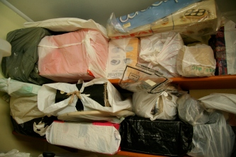 Small electrical appliances wrapped in plastic held ransom