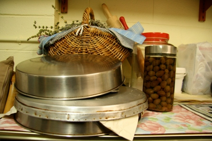 Tools of the trade, note the preserved olives